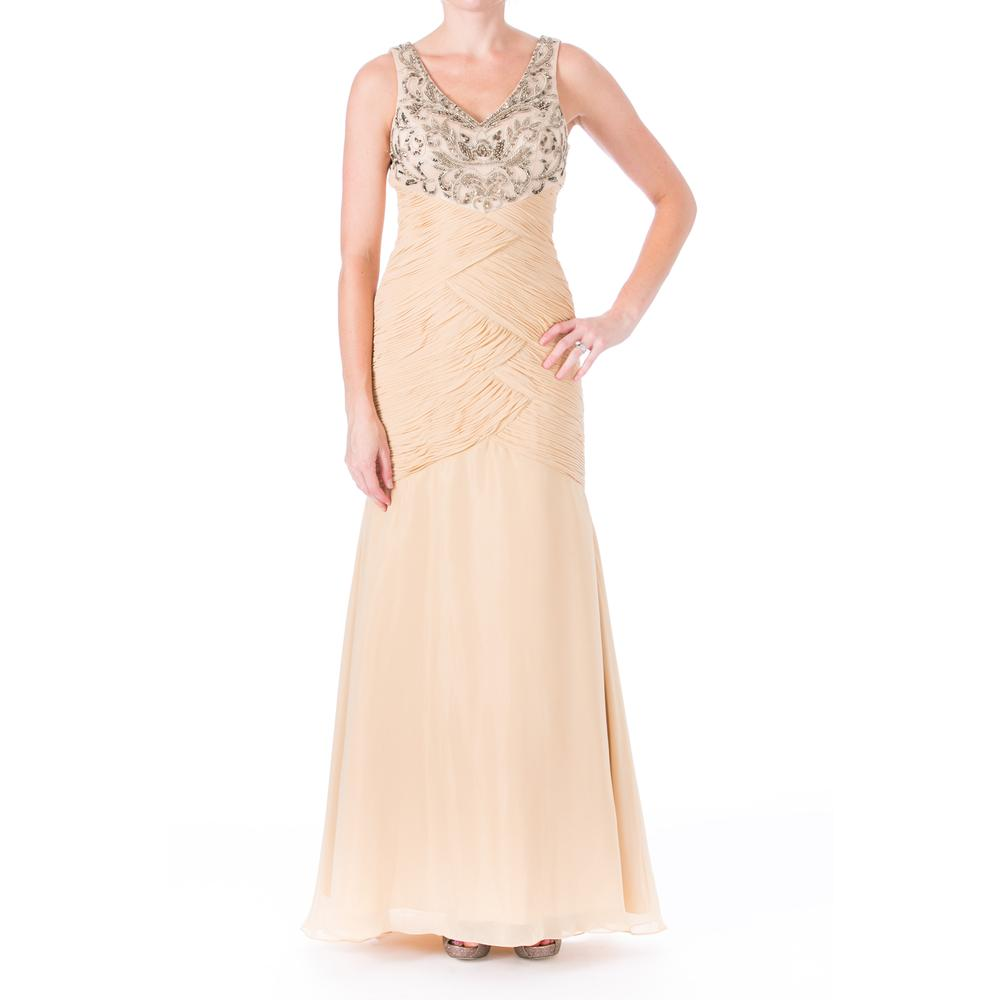 SUE WONG NEW Chiffon Beaded Full-Length Formal Dress Gown
