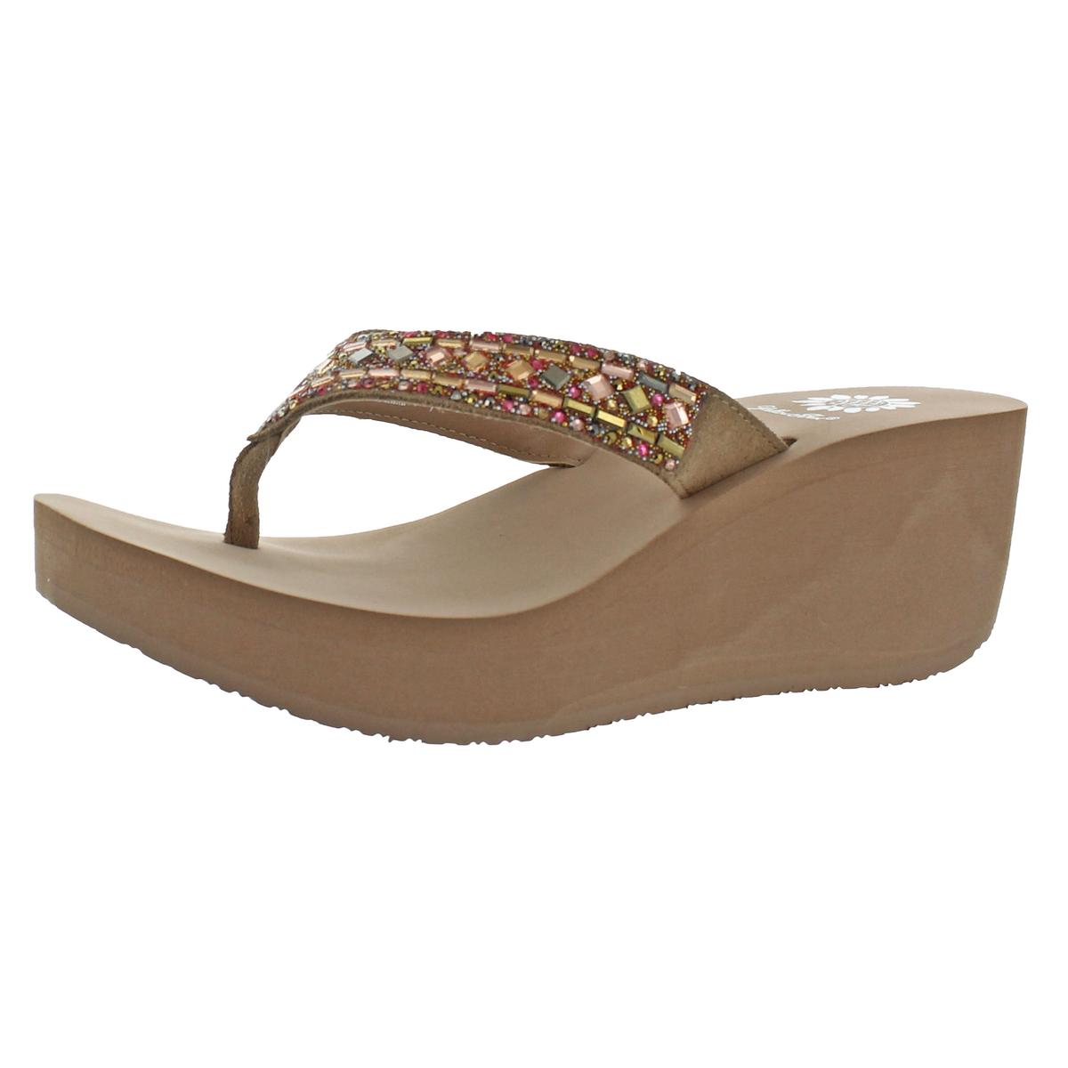 65991ce34 Details about Yellow Box Alistaire Women s Leather Embellished Strap EVA Thong  Wedge Sandals