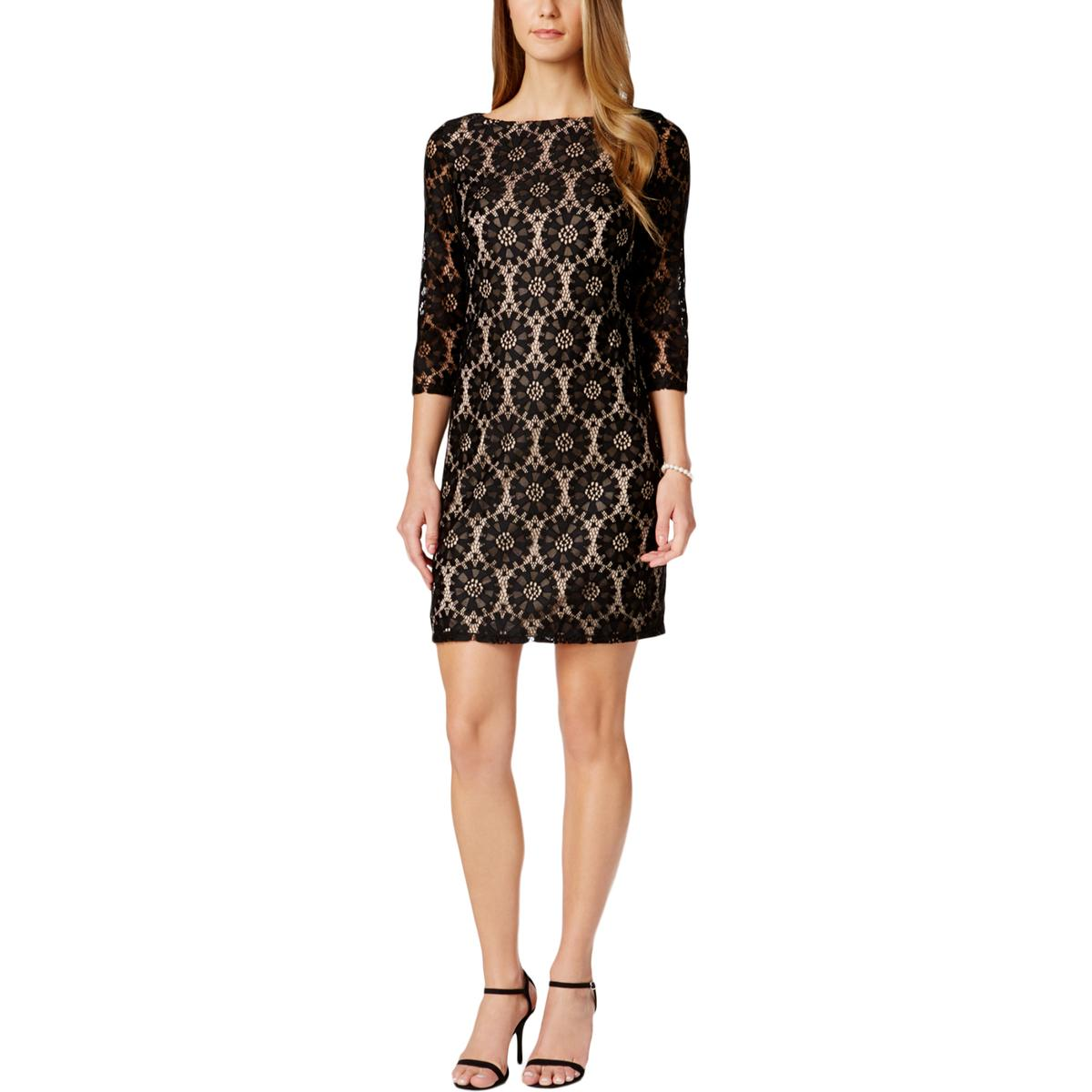 3b9737d88454c Details about Jessica Howard Womens Black Illusion Sleeve Lace Sheath  Casual Dress 6 BHFO 2144