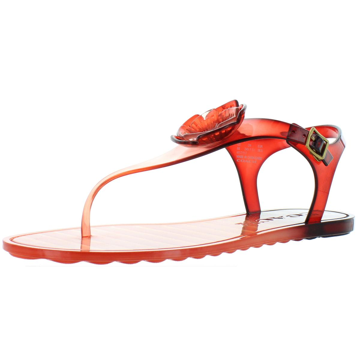 a447f84d3 Details about Coach Womens Tea Rose Jelly Thong Sandals Flats Shoes BHFO  8897