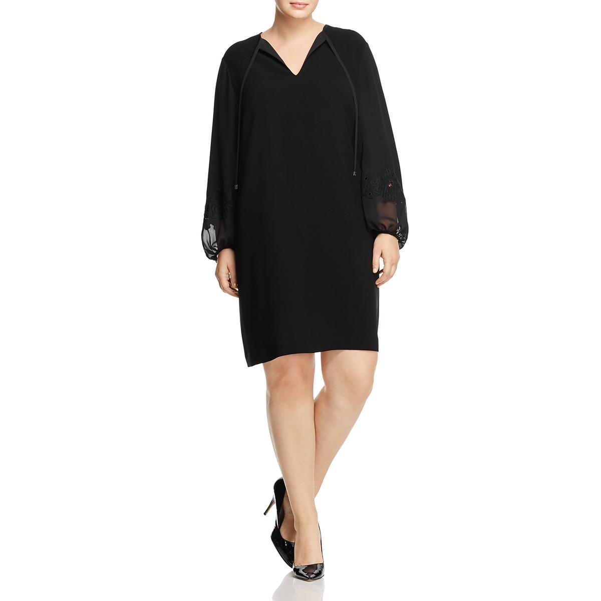 64f94fbcf22 Details about Lafayette 148 New York Womens Eli Black Party Dress Plus 1X  BHFO 4980
