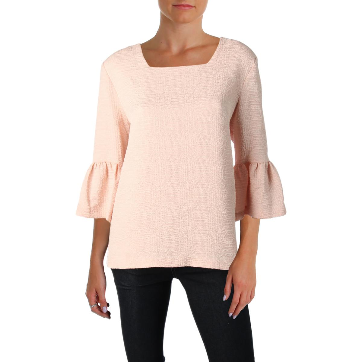 ec04f44766230 Calvin Klein Womens Pink Textured Square Neck Blouse Top XL BHFO ...