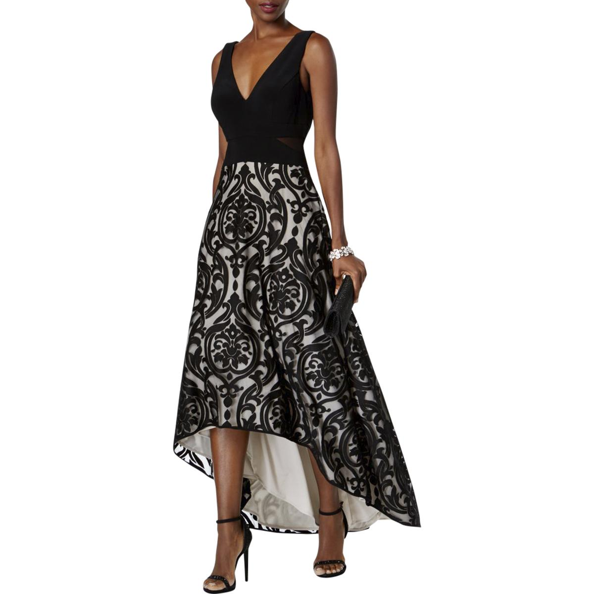 7630c947 Details about Xscape Womens Black Floral Print Hi-Low Formal Evening Dress  Gown 14 BHFO 3805