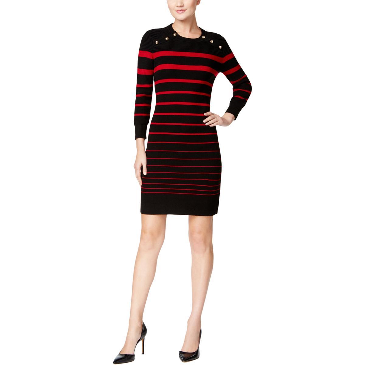 Calvin Klein Size XL Black Red Nautical Gold Button Striped Sweater ...
