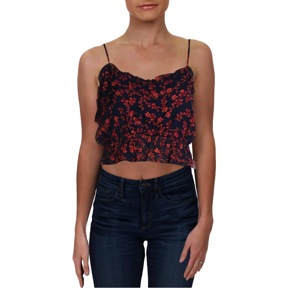 Aqua Womens Floral Print Smocked Ruffled Crop Top Shirt BHFO 6735