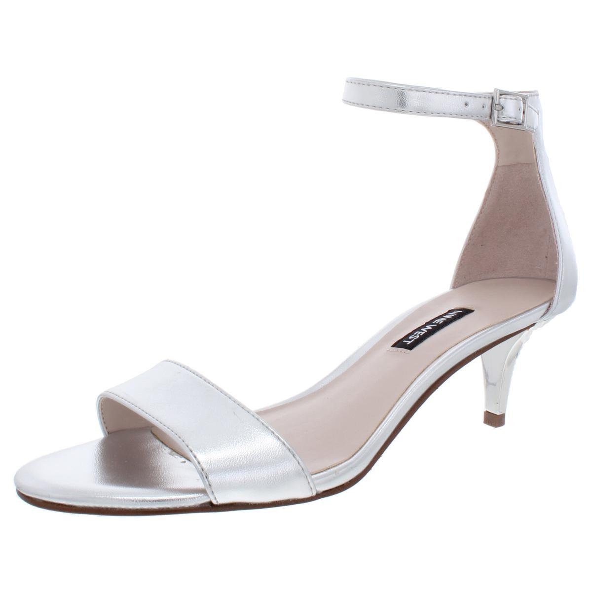 Nine West Womens Leisa Mixed Media Kitten Evening Sandals Shoes BHFO 0077