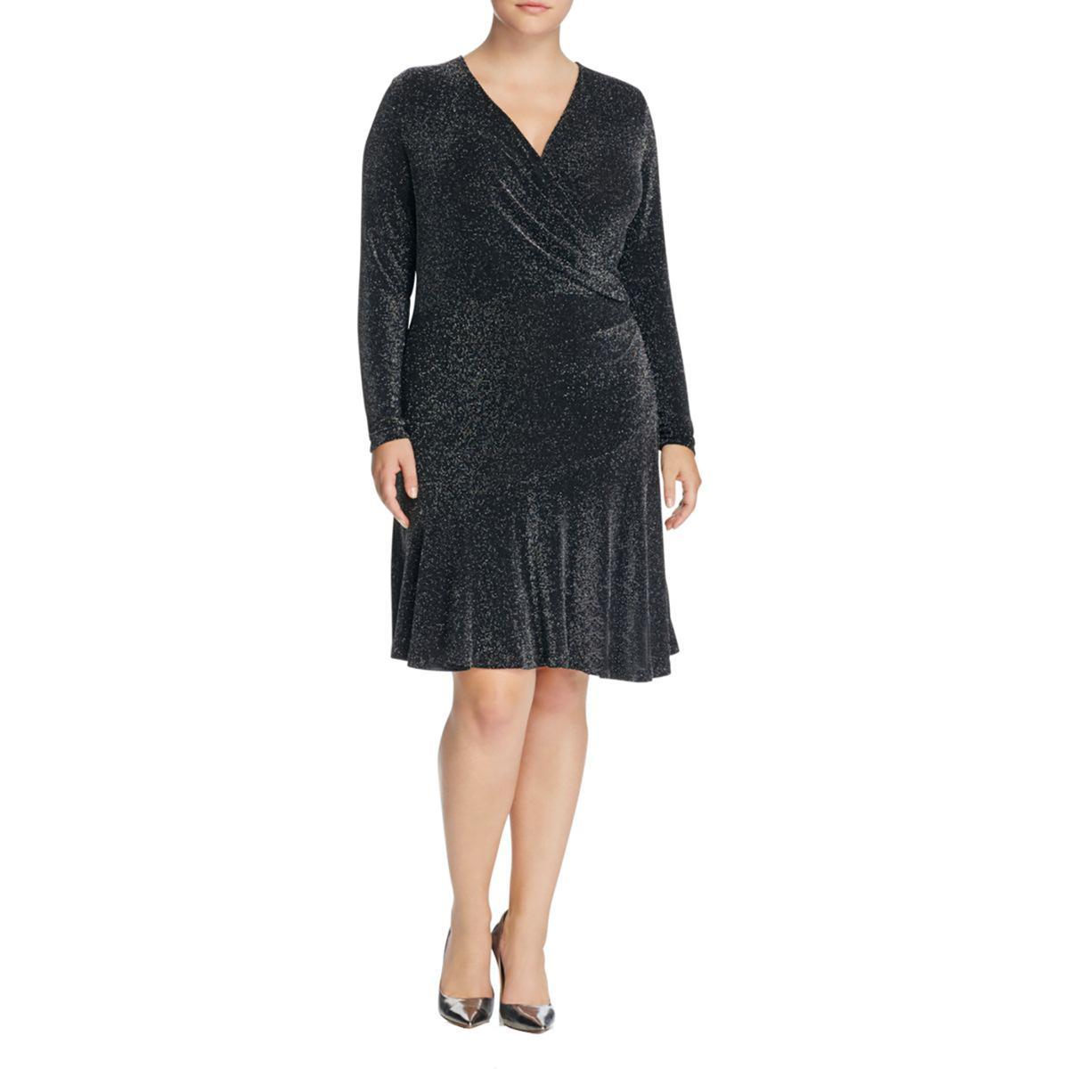 MICHAEL Michael Kors Womens Special Ocassion Wrap Evening Dress Plus ...