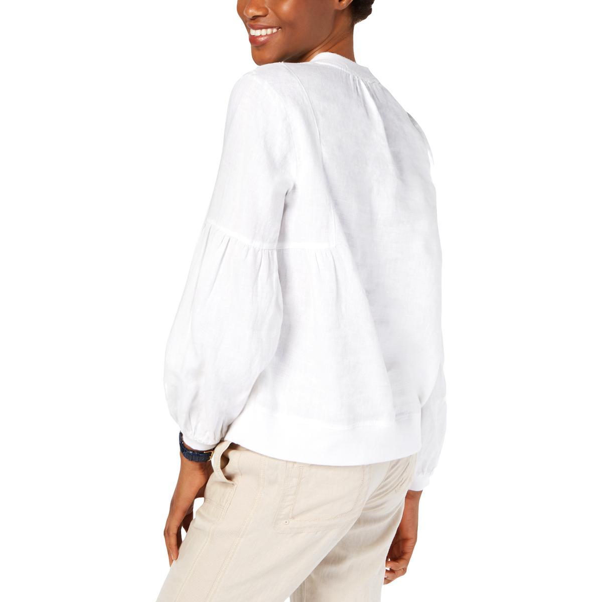 Tommy-Hilfiger-Womens-White-Linen-Split-Neck-Peasant-Top-Shirt-XS-BHFO-2022 thumbnail 4