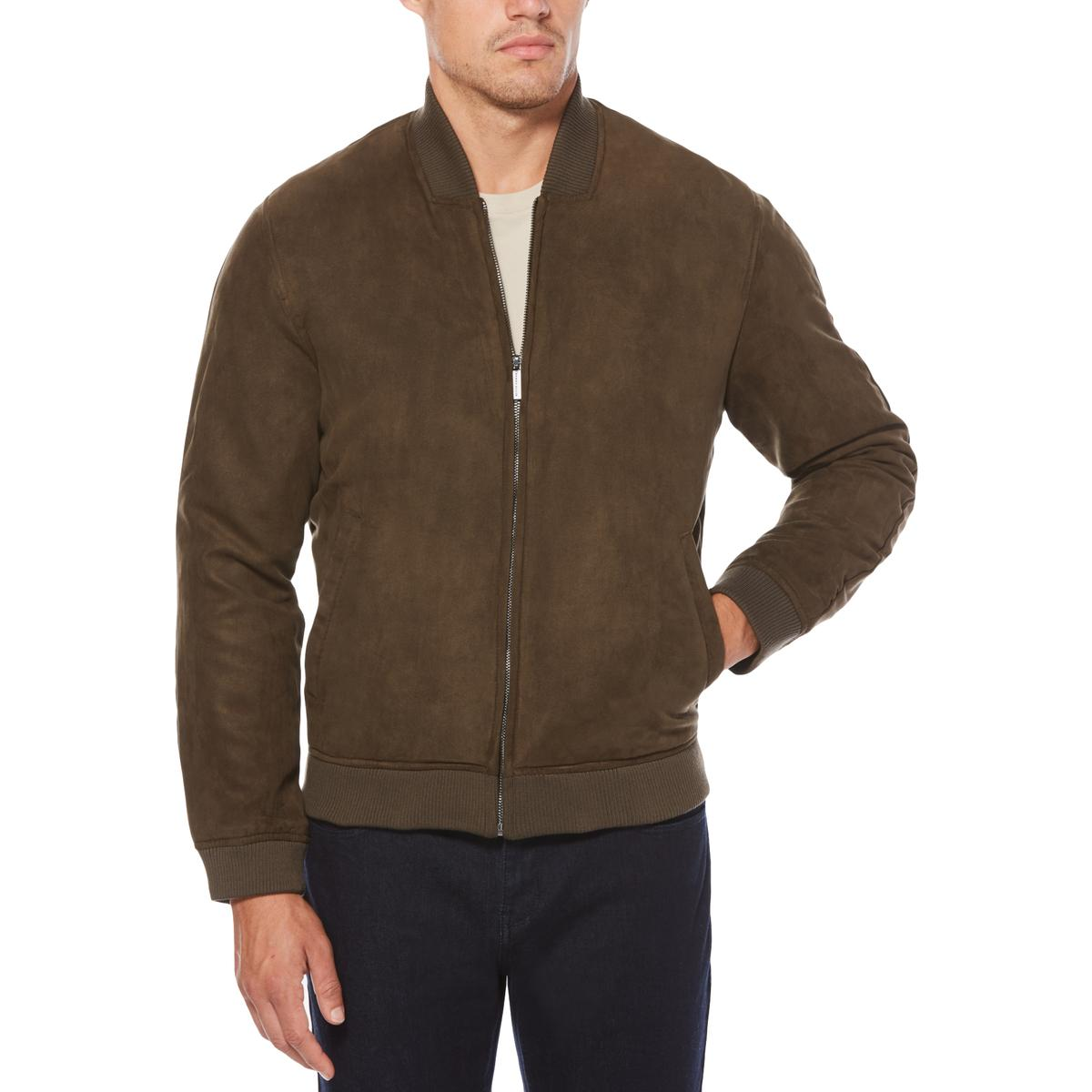 f4ef93f5fa Details about Perry Ellis Mens Winter Faux Suede Warm Bomber Jacket  Outerwear BHFO 0820