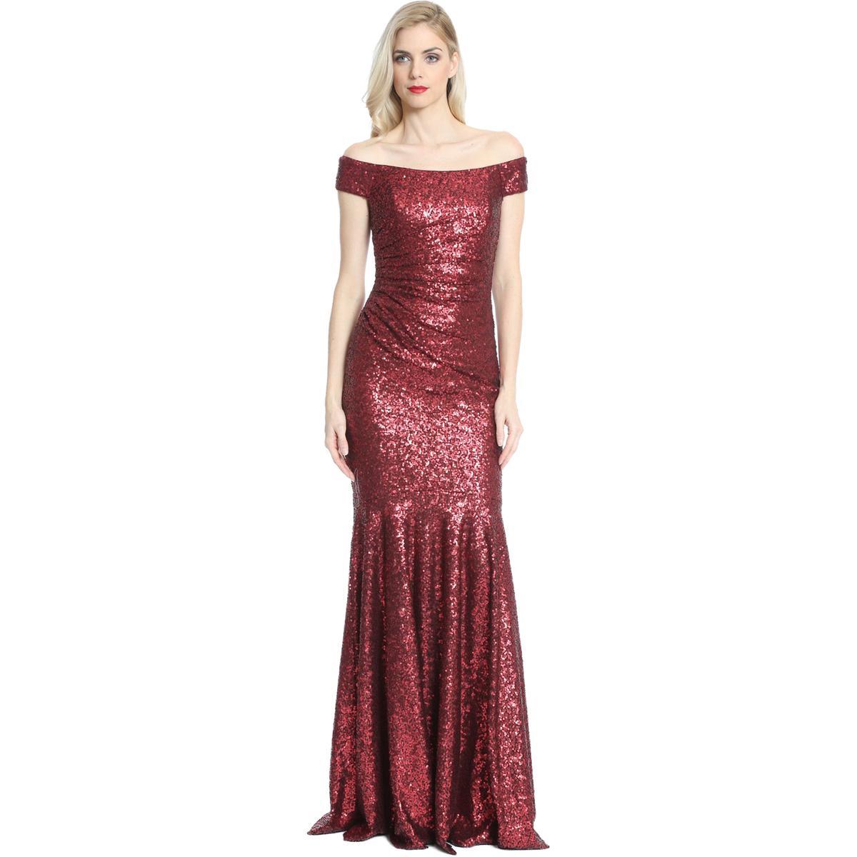 Badgley Mischka Womens Ruched Sequined Gown Burgundy 4 Regular | eBay