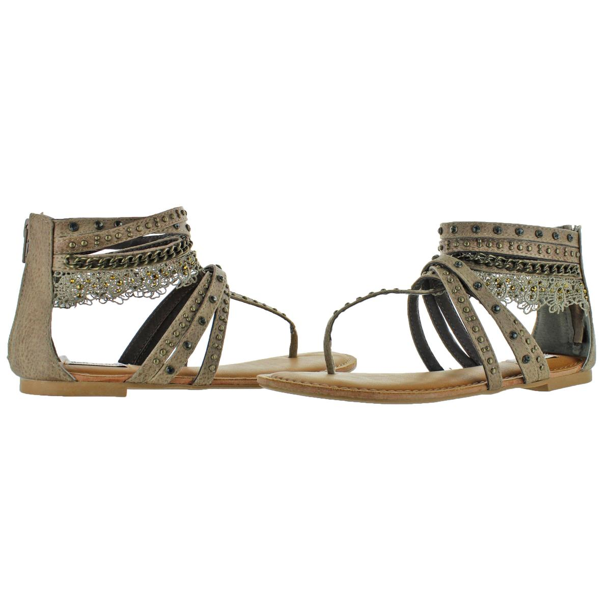 Not-Rated-Women-039-s-Willow-Faux-Leather-Studded-Thong-Gladiator-Sandals thumbnail 8