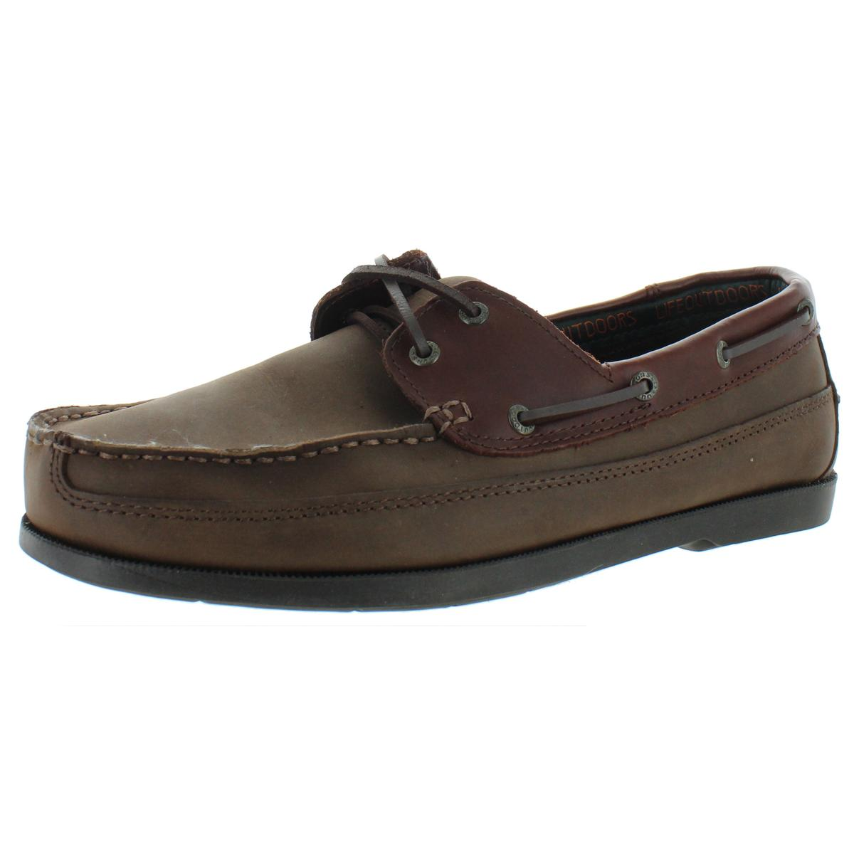 Life Outdoors Mens Brown Boat Shoes Sneakers 8.5 Extra Wide