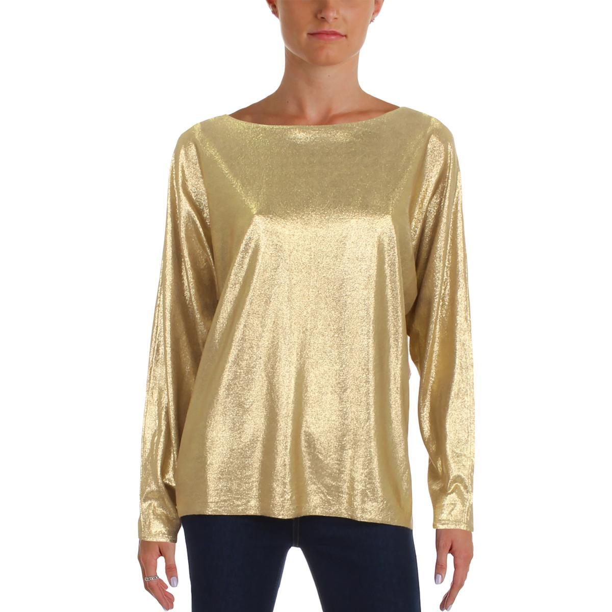 Lauren Ralph Lauren Womens Gold Metallic Sparkly Party Sweater L ... de5519e33