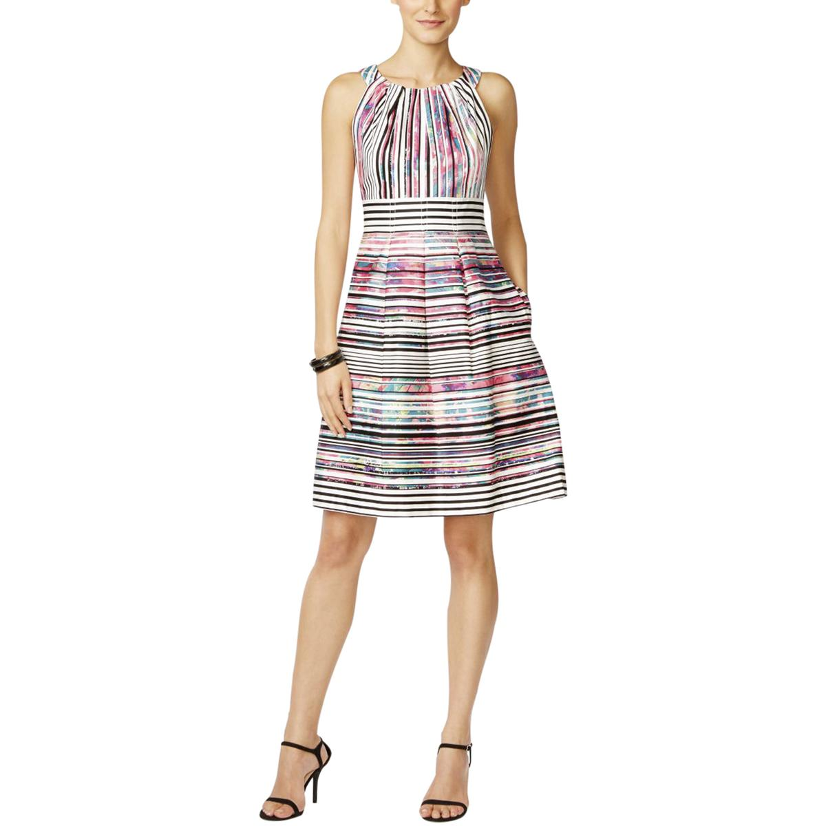 Nine West 2545 Womens Pleated Striped Printed Casual Dress