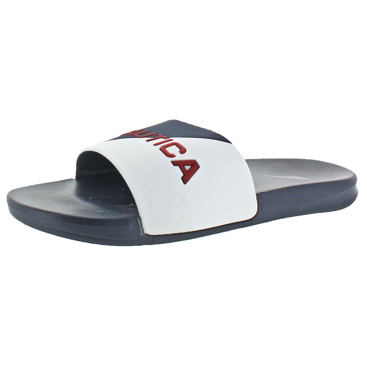 Nautica Mens Stono White Summer Retro Slide Sandals Shoes 7 Medium (D) BHFO 9330