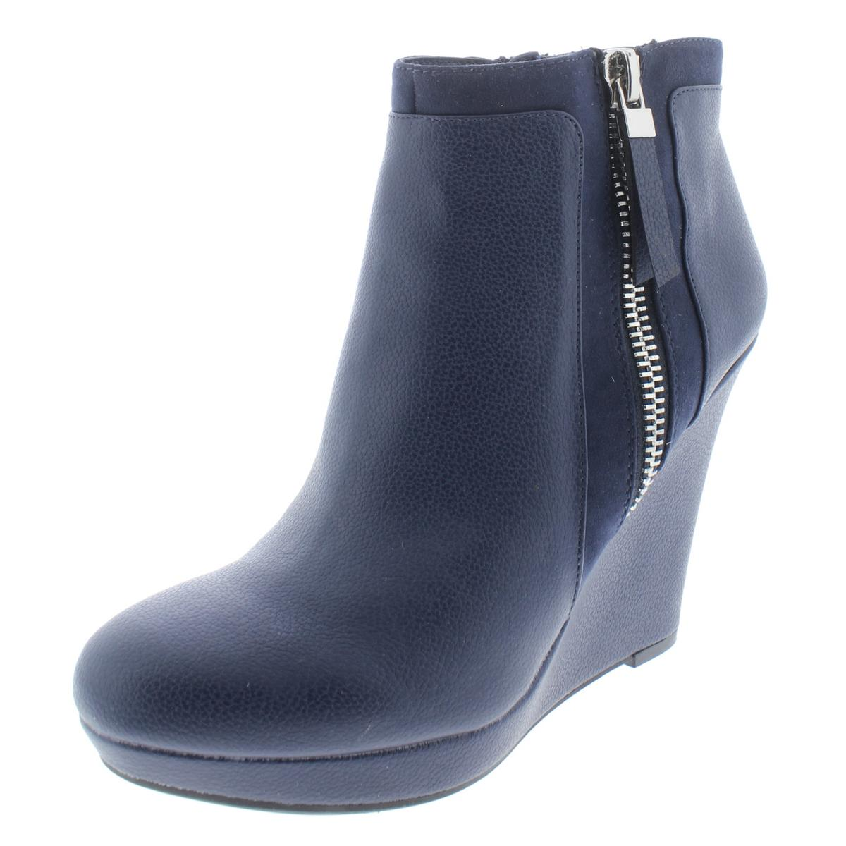 Bar III Womens Navy Faux Leather Wedge Booties shoes 9 Medium (B,M) BHFO 0201