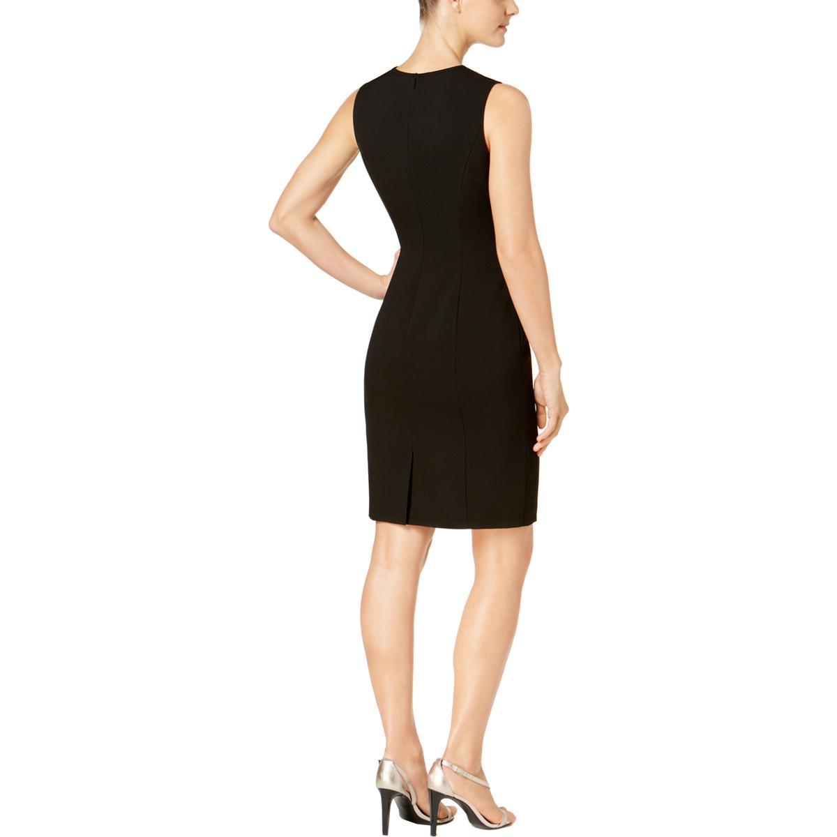 74b9bf1920e81 Calvin Klein Womens Black Mesh Inset Sheath Midi Dress Petites 2P ...