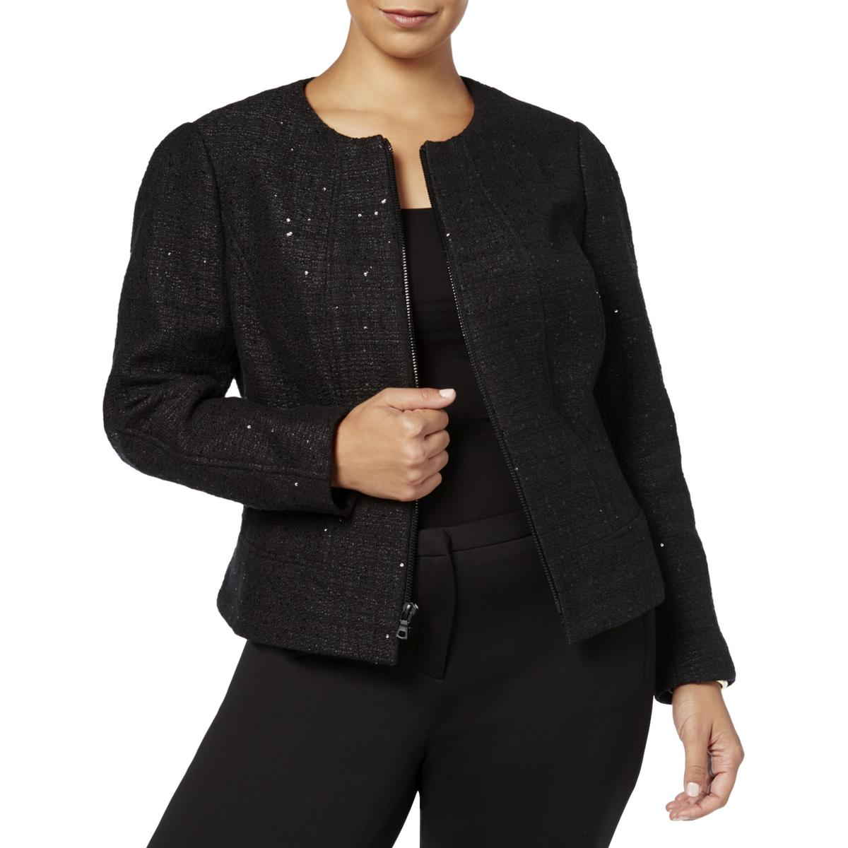 754e9f7219f Details about Anne Klein Womens Black Sequined Tweed Jacket Blazer Plus 20W  BHFO 1527