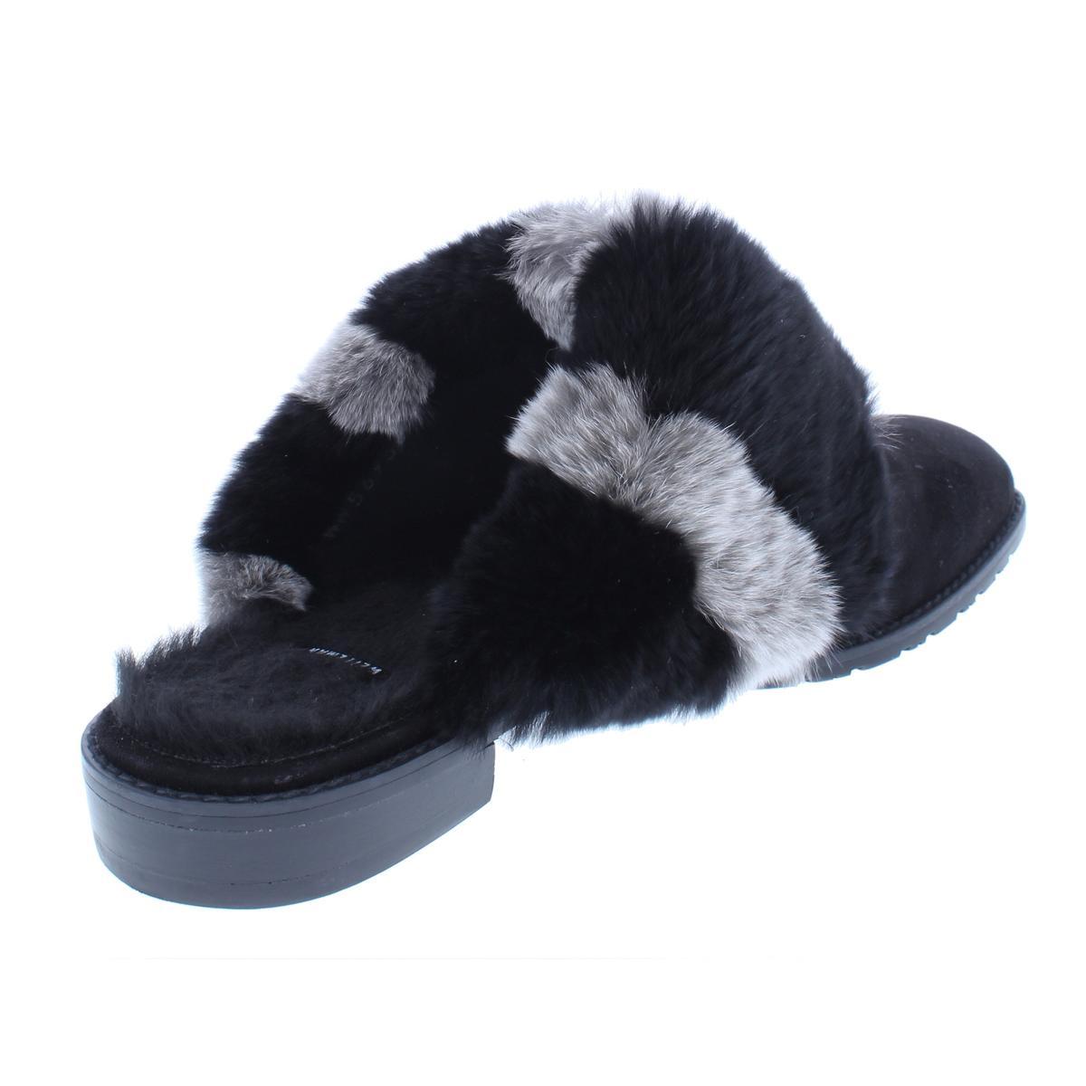 Stuart-Weitzman-Womens-Furgetit-Suede-Fox-Fur-Slide-Mules-Shoes-BHFO-8240 thumbnail 4