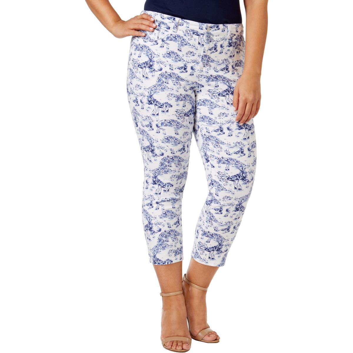 f3e2e8775f6 Details about Charter Club Womens Bristol Blue Printed Casual Capri Pants  Plus 16W BHFO 3721