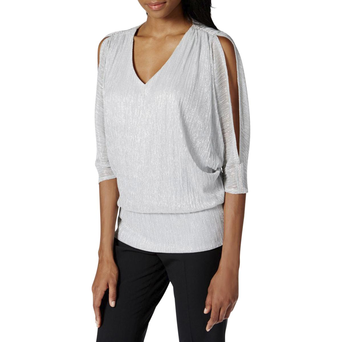 99346da953d46 Details about MSK Womens Silver Metallic Slit Sleeves Party Blouse Top M  BHFO 3547