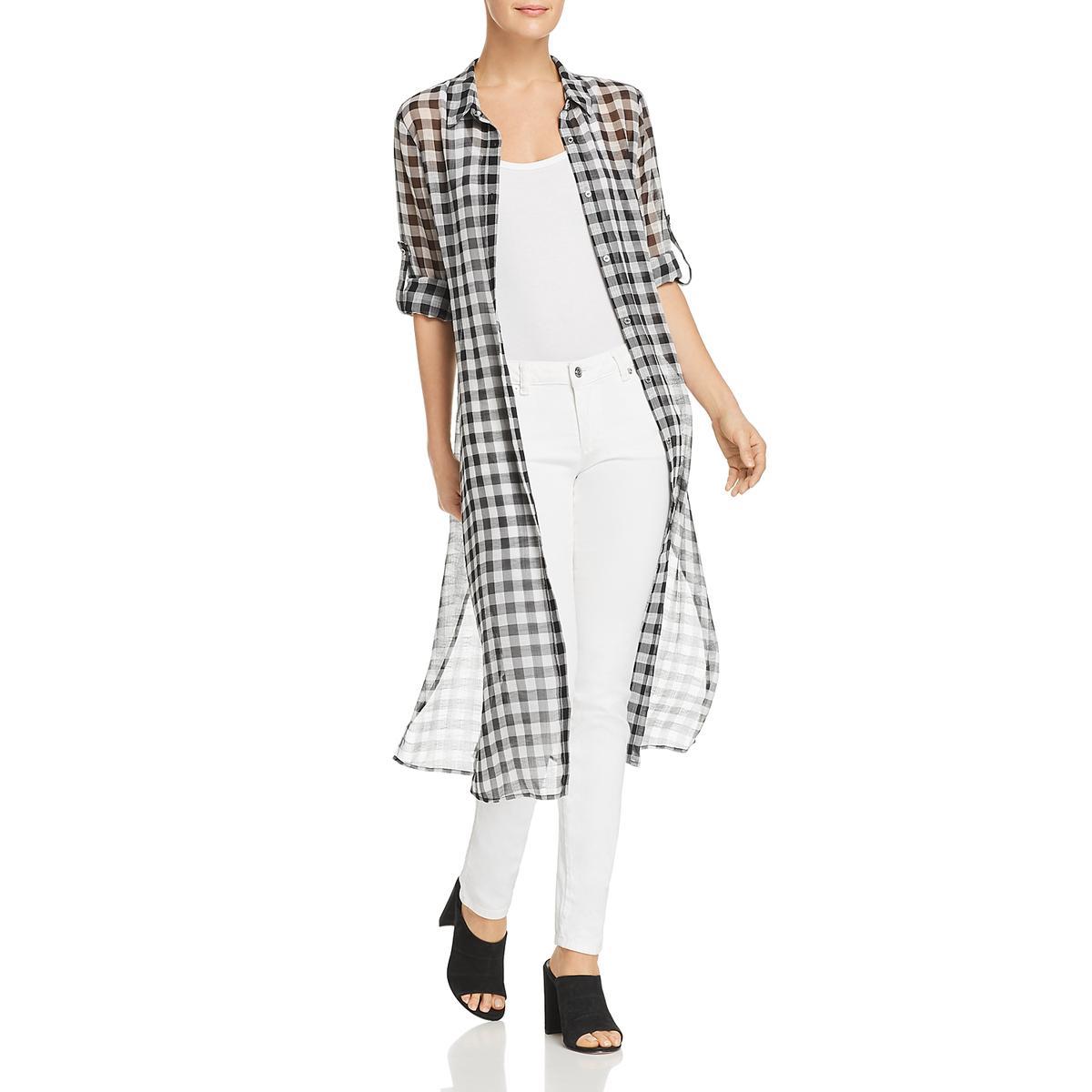 d91762de346fd Details about Calvin Klein Womens Black-Ivory Gingham Tea-Length Shirtdress  XL BHFO 3061
