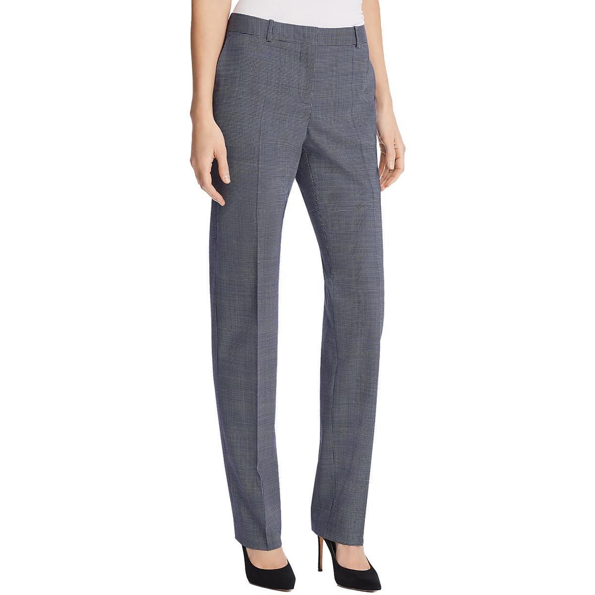 Hugo Boss Womens Blue Suiting Microcheck Business Dress Pants 14 BHFO 9325