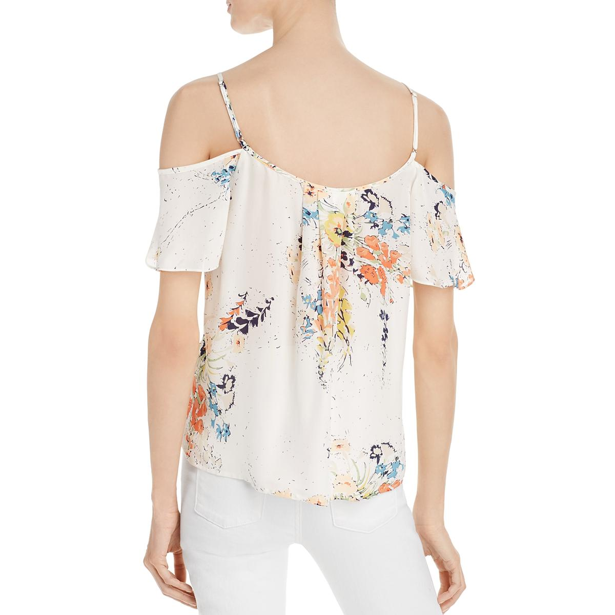 e9aaf94e09862f Joie Womens Adorlee Silk Printed Cold Shoulder Blouse Top BHFO 8675 ...