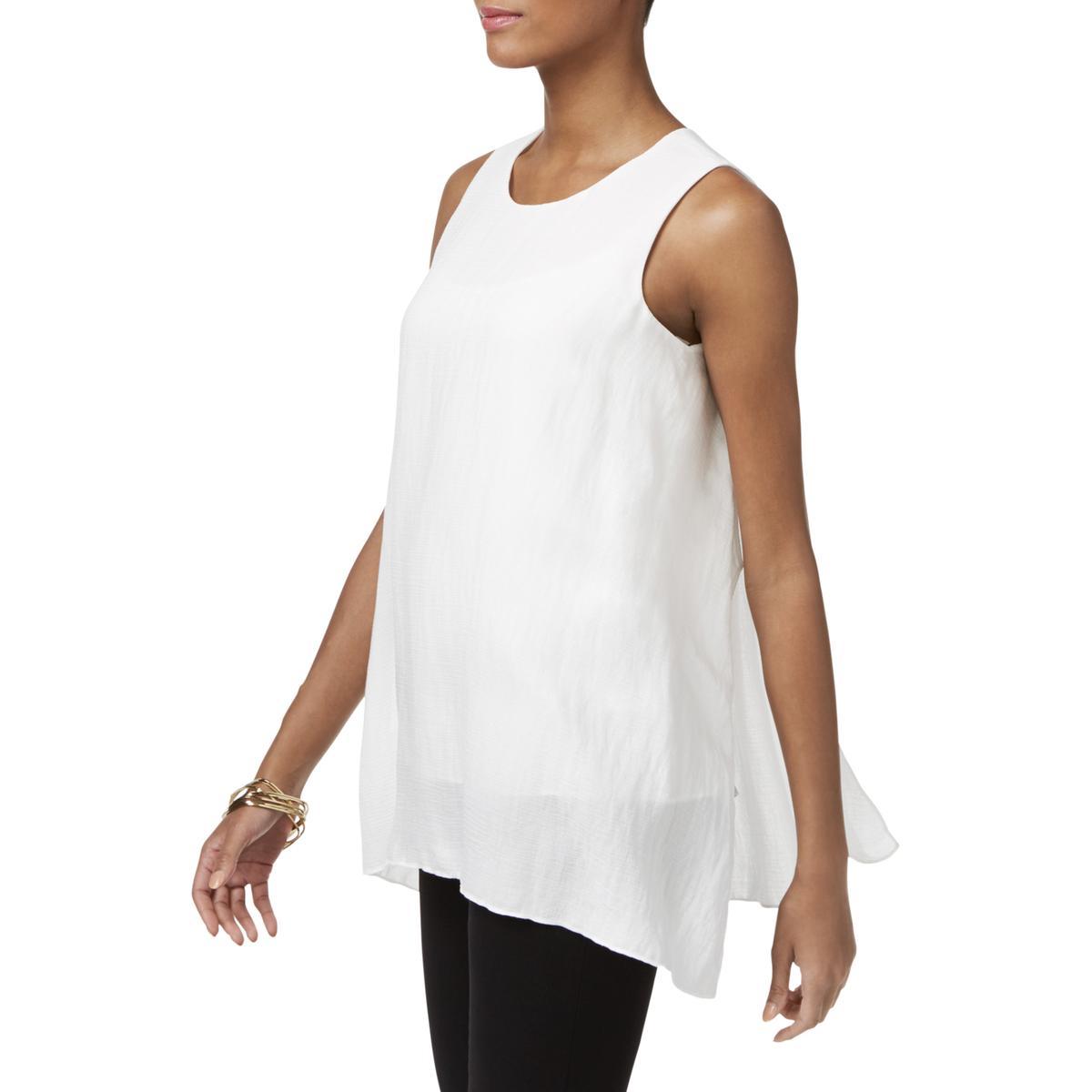 6b95bb9be10301 Details about Alfani Womens Handkerchief Hem Sleeveless Keyhole Blouse Top  BHFO 4856