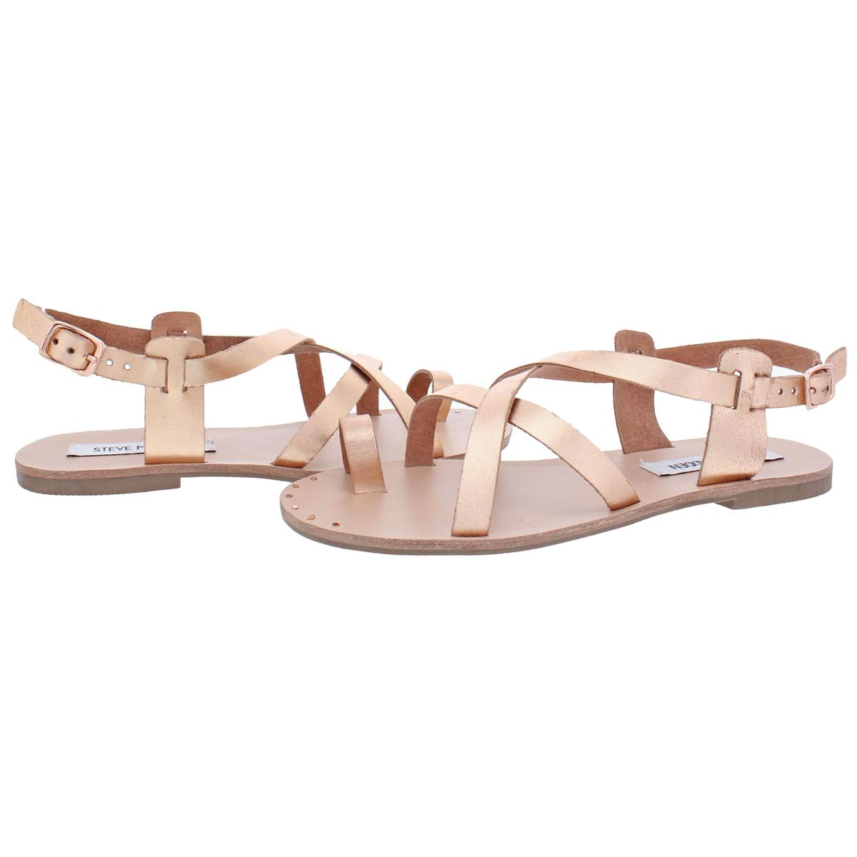 Steve-Madden-Women-039-s-Aatheena-Leather-Strappy-Slingback-Flat-Sandals-Shoes thumbnail 6