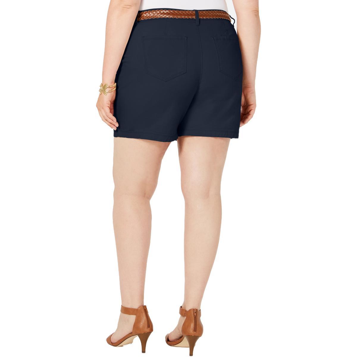 Style /& Co Womens Mid Rise Bermuda Dark Wash Denim Shorts Plus BHFO 0292
