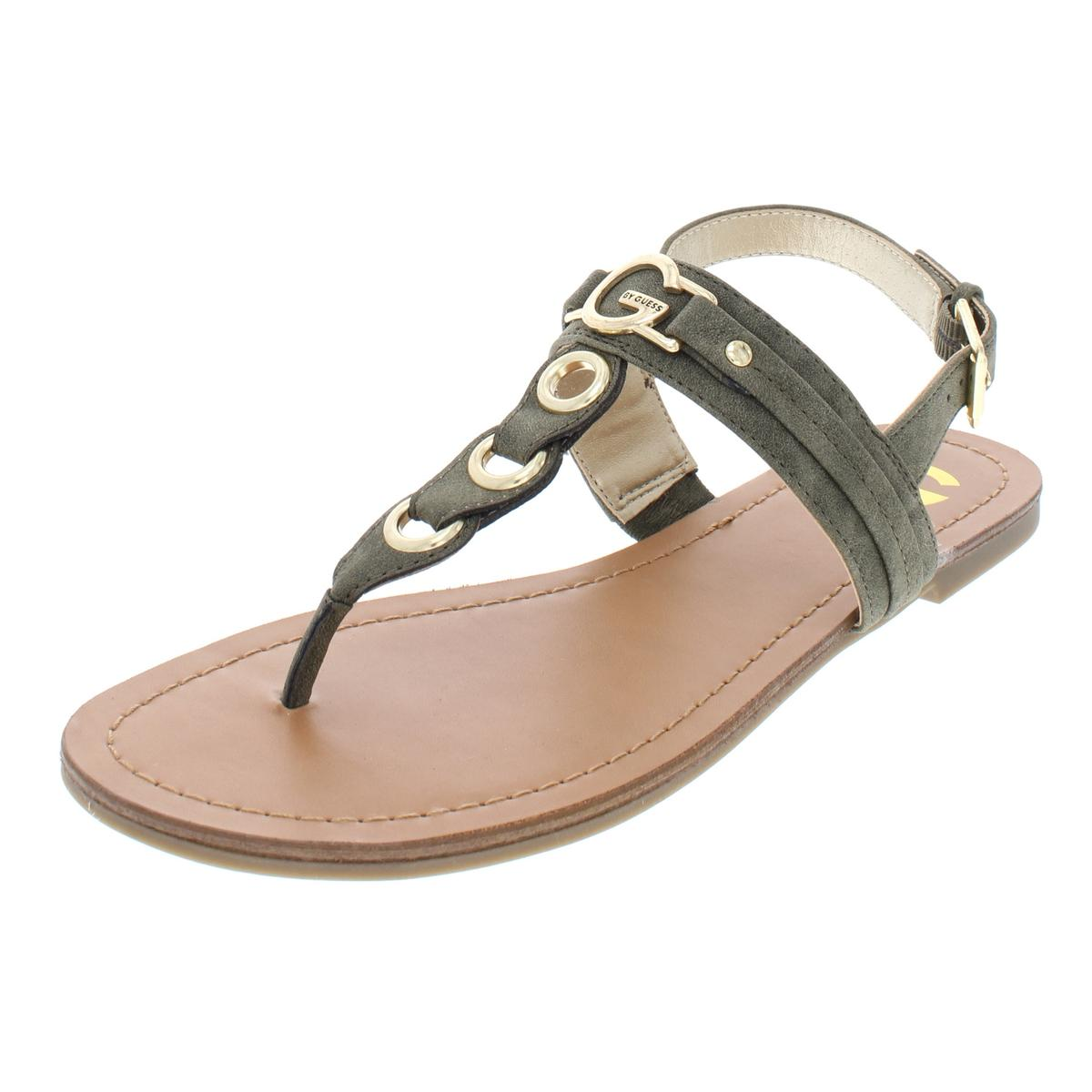81c643deb46 Details about G by Guess Womens Lesha Green Flat Sandals Shoes 7 Medium  (B