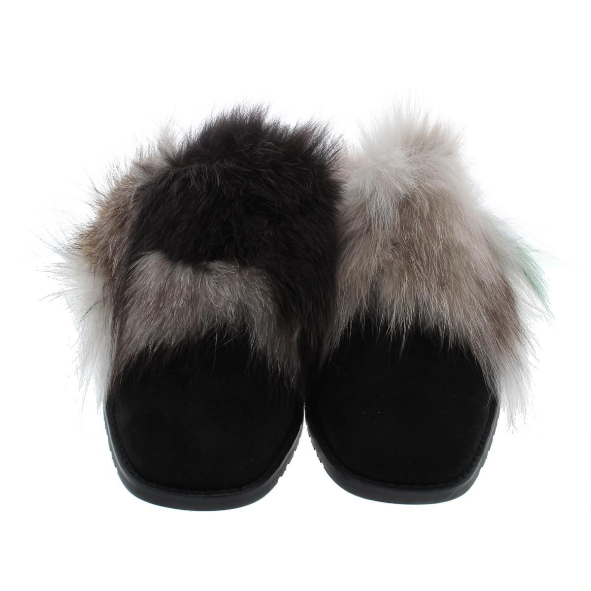 Stuart-Weitzman-Womens-Furgetit-Suede-Fox-Fur-Slide-Mules-Shoes-BHFO-8240 thumbnail 8