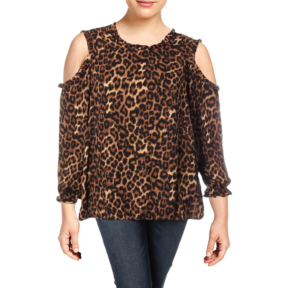 f1a3ea76bb0d93 Details about Cupio Womens Black Chiffon Animal Print Blouse Top Plus 1X  BHFO 3398