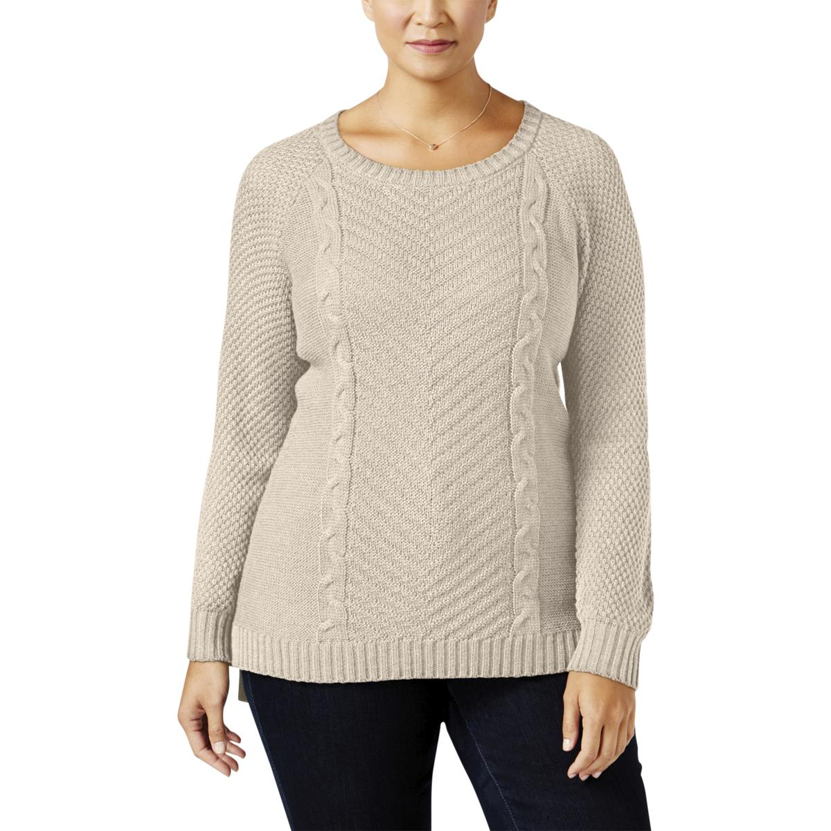 Ny Collection Women Plus Size Sahara Heather Cable Knit Sweater 2x