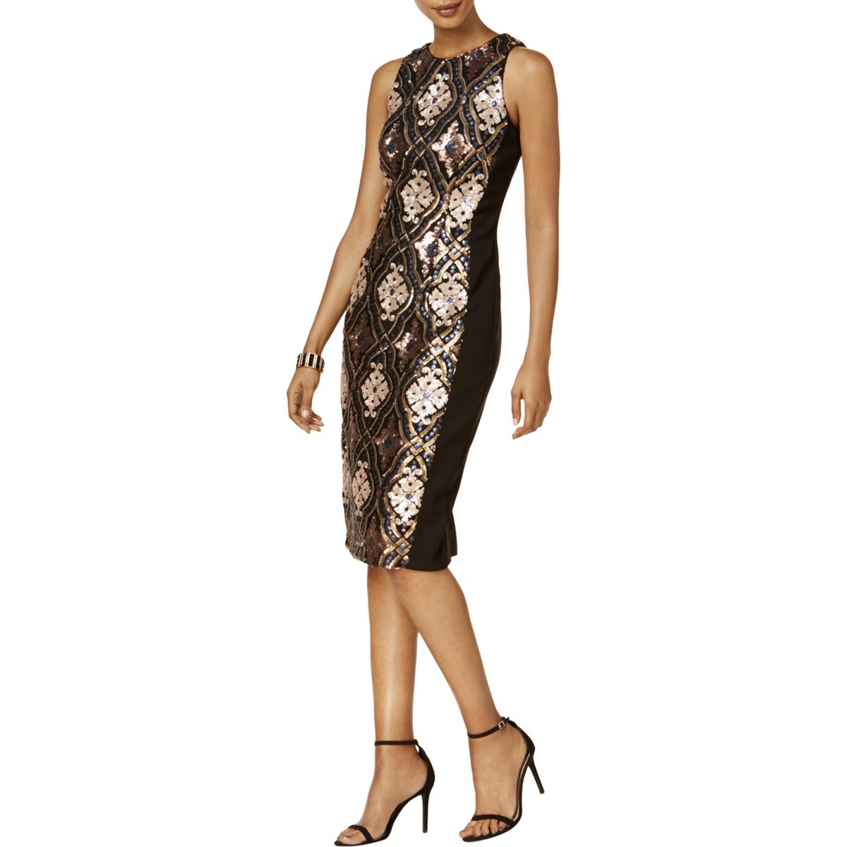 8ad12662f28 Details about Jax Black Label Womens Sequined Midi Party Cocktail Dress BHFO  2423