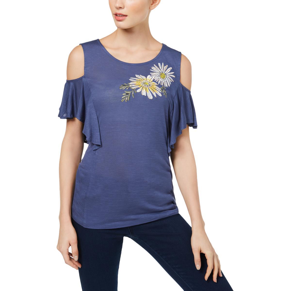 56450bbc42bde Details about INC Womens Knit Floral Cold Shoulder Pullover Top Blouse BHFO  5381