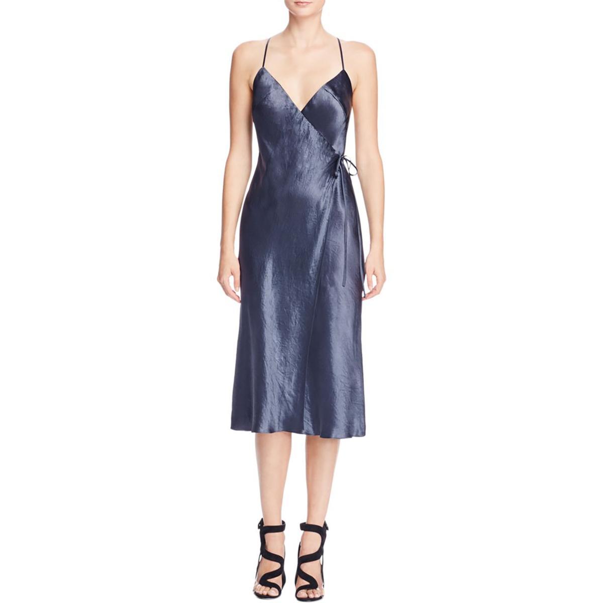 02ce611bc3e3b ABS Collection Womens Navy Satin Wrap Spaghetti Straps Slip Dress 0 ...