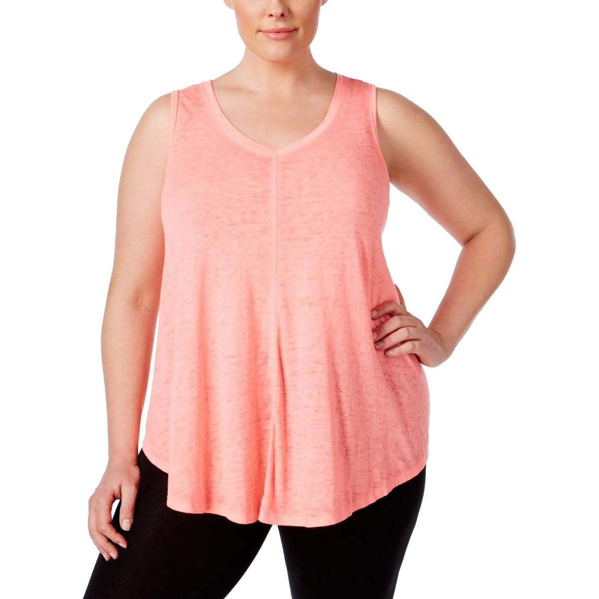 c5986ab8a9944 Calvin Klein Pink Womens Size 1x Plus Relaxed V-neck Tank Cami Top ...