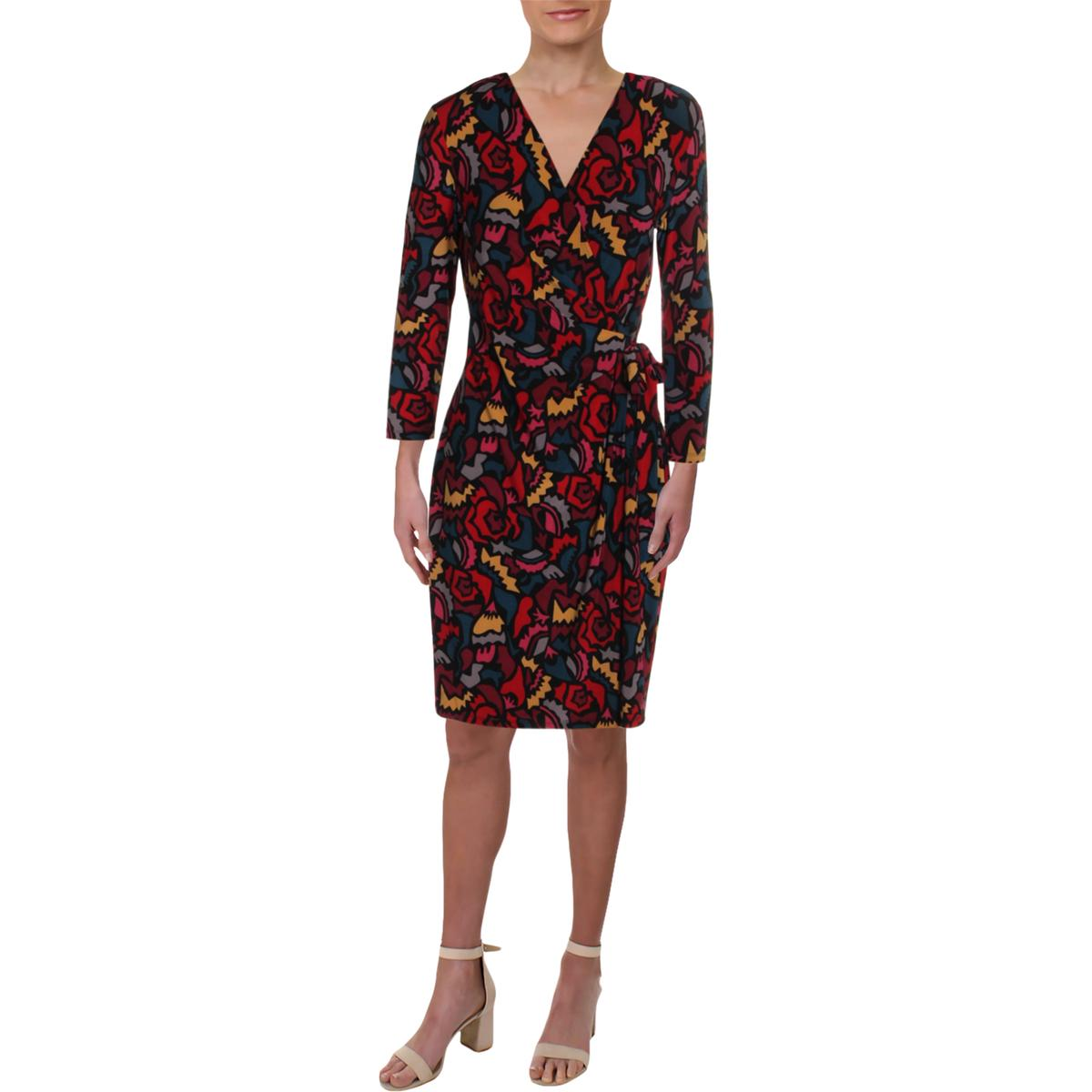 6add9c33abb Details about Anne Klein Womens Red Printed Faux Wrap Night Out Wrap Dress  M BHFO 9877