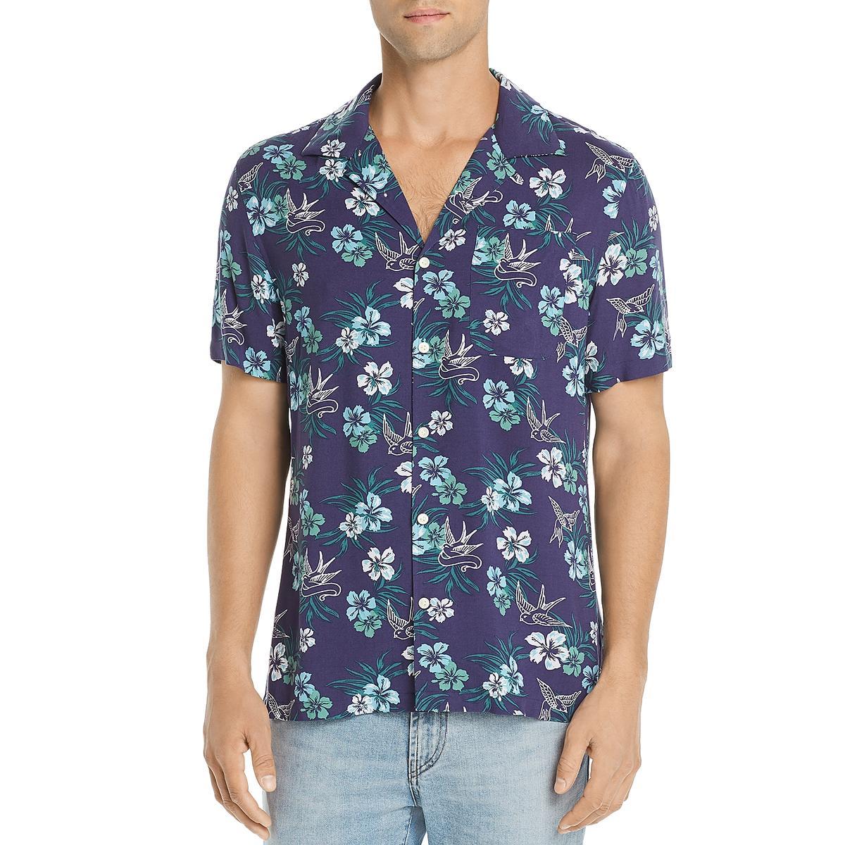 Jachs NY Mens Navy Floral Button Down Hawaiian Print Shirt S BHFO 7261