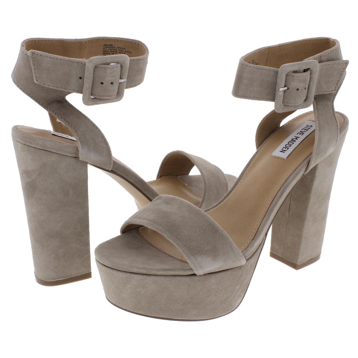 Steve-Madden-Womens-Joline-Suede-Covered-Heel-Platform-Sandals-Shoes-BHFO-8617 thumbnail 9