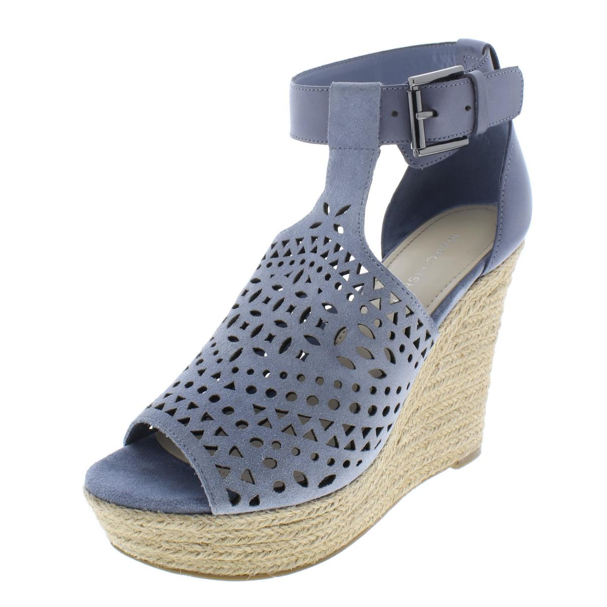 a8042b34a75 Details about Marc Fisher Womens Hasina Blue Wedge Sandals Shoes 7 Medium  (B