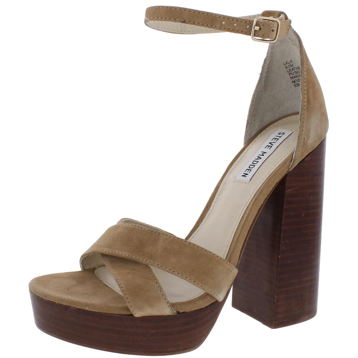 610461268b3 Image is loading Steve-Madden-Womens-Lala-Tan-Block-Heels-Shoes-