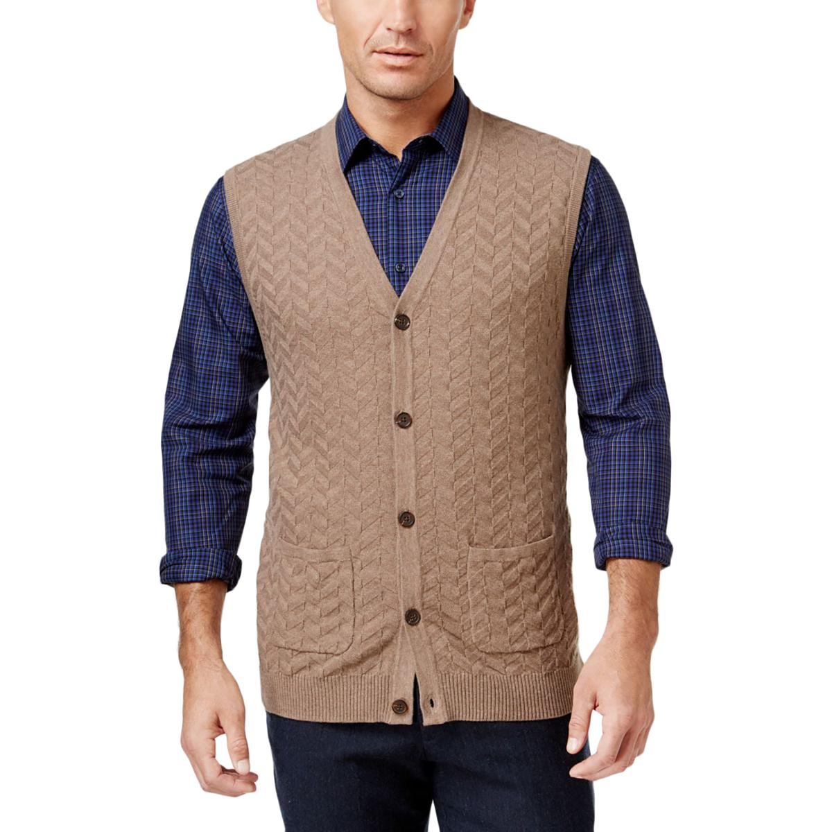 Tasso Elba 1601 Mens Knit Button-Up Sweater Vest BHFO | eBay
